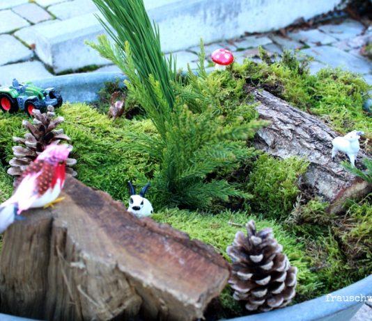 Outdoordeko Miniaturland in Zinkwanne