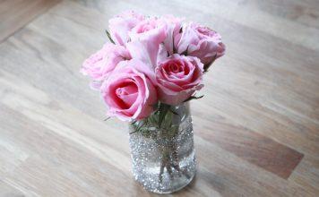 DIY Glitzer Vase Blumen basteln Anleitung
