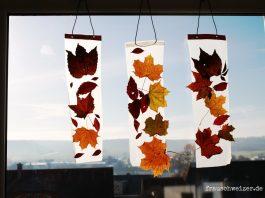 anleitung Fensterbild mit Herbstlaub basteln kinder