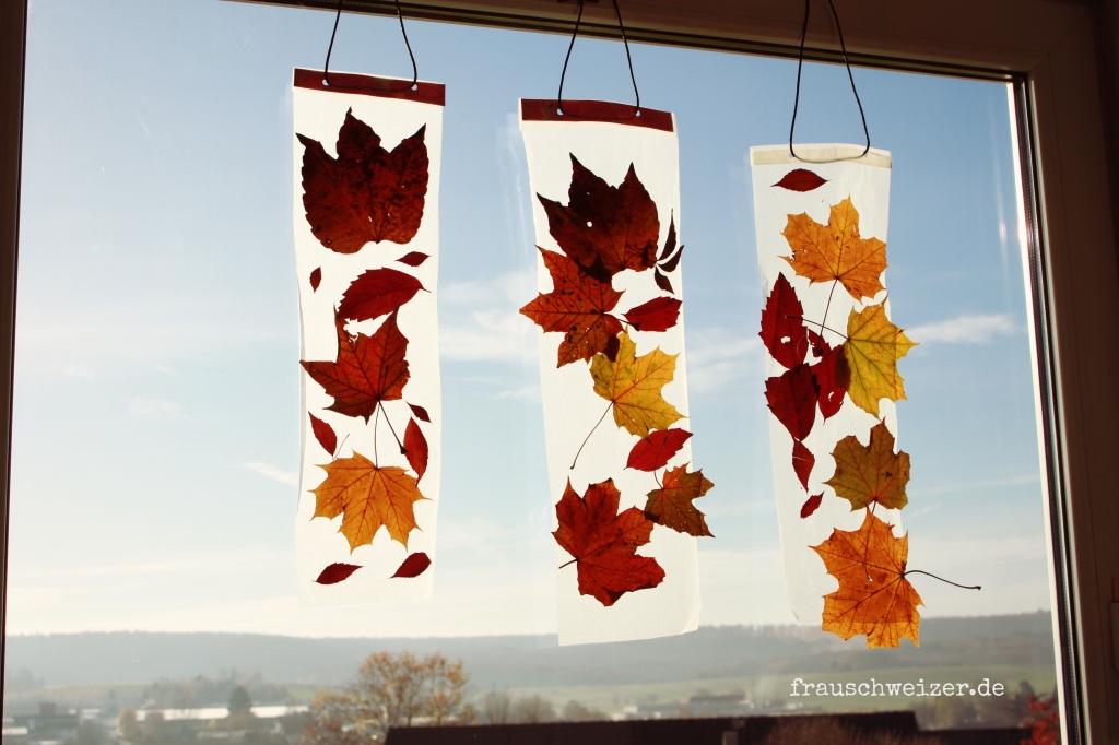 Herbst Fenster Bild Selberbasteln Frau Schweizer