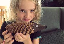 Tannenzapfen Igel mit Kindern basteln