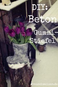 Upcycling Idee Gummistiefel als beton Vase von FrauSchweizer