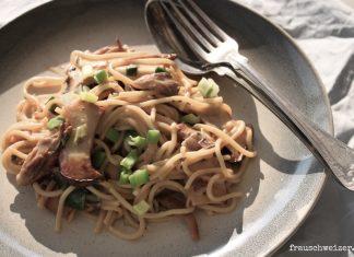 Rezept für cremige Nudeln mit Pilzen, ein 30 Minuten Essen