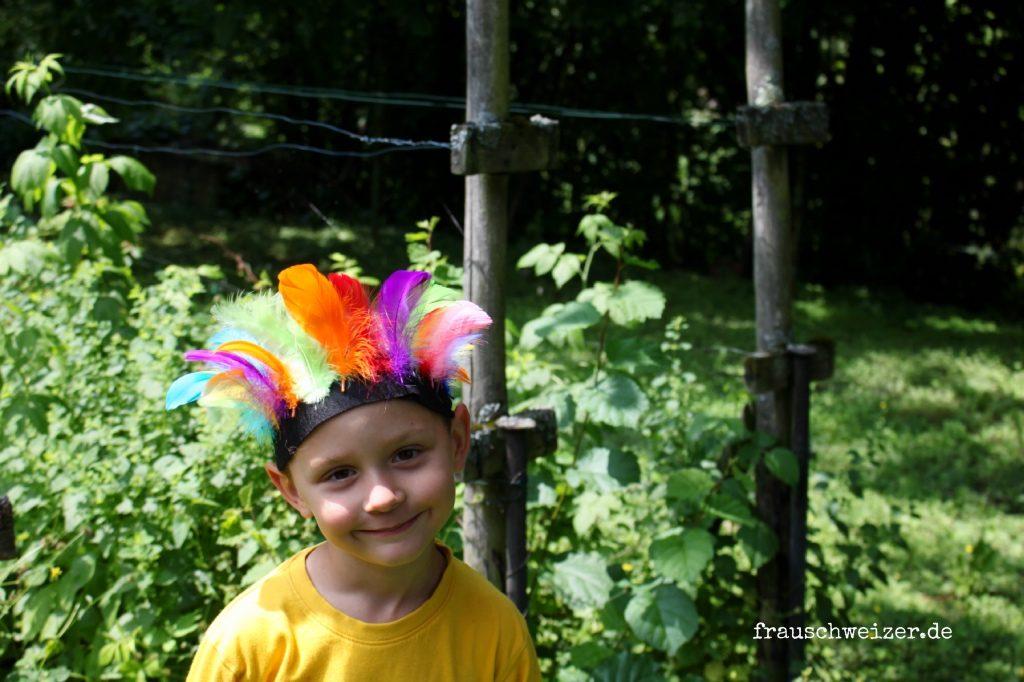 mit Kindern Indianer Kopfschmuck basteln