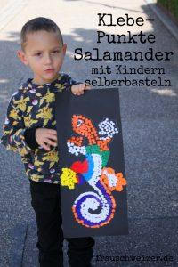 Basteln mit Kindern Punkte Salamander kleben