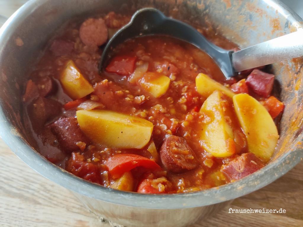 rezept-Linsen-Kartoffel-Würstchen-Eintopf