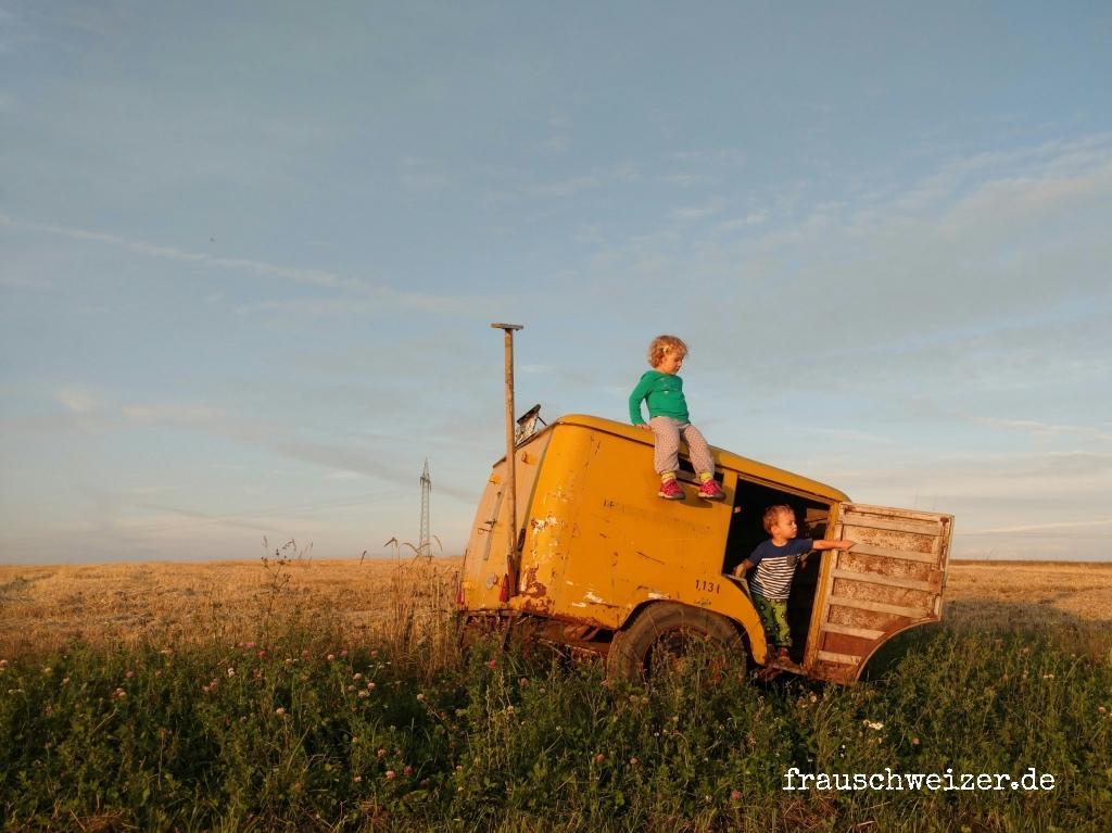 Postbusanhänger im Feld