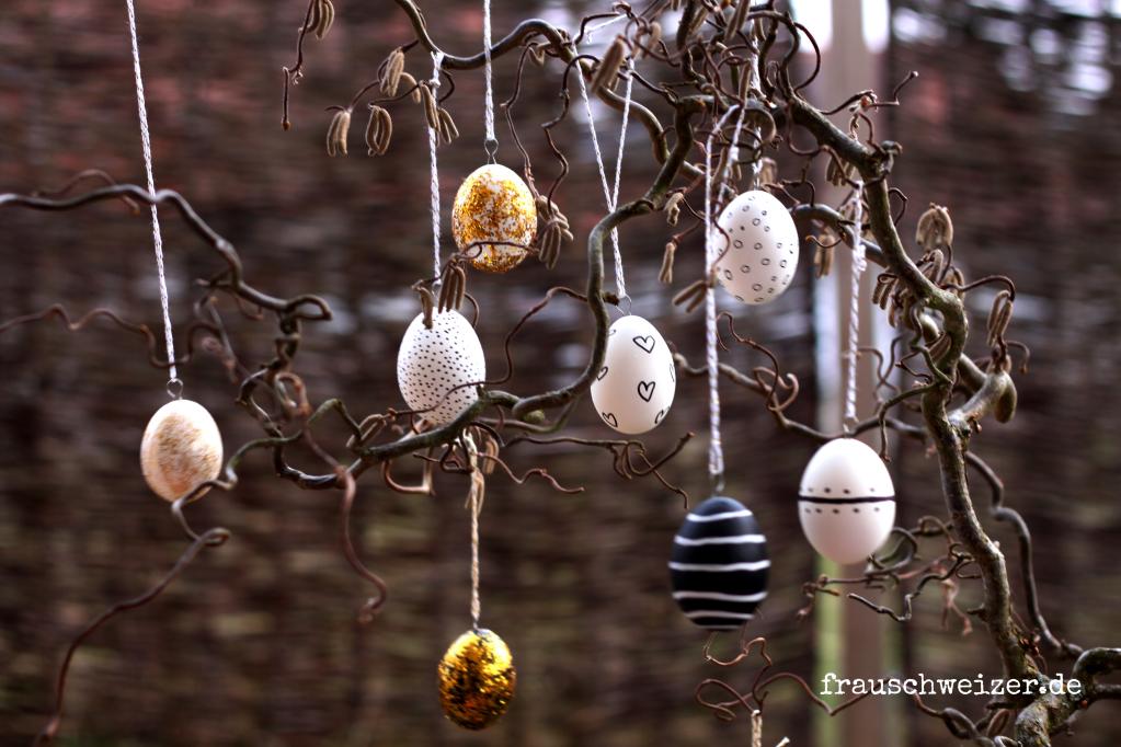 schwarz, weiß und goldene Ostereier 2016