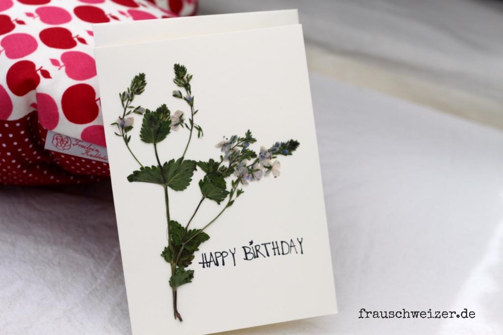 Karte, card, handgemacht, handmade, blumen, gepresst, flowers, geburtstag, glückwunsch