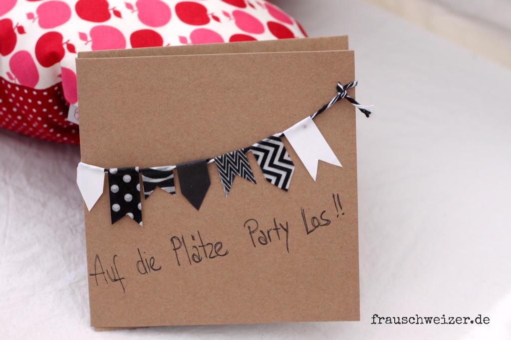 Karte, Card, handgemacht, handmade, schwarzweiss, Girlande, Party, Einladung