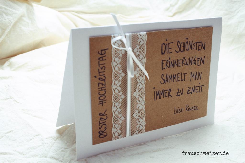 Selbstgemachte Karten zum ersten Hochzeitstag verschenken