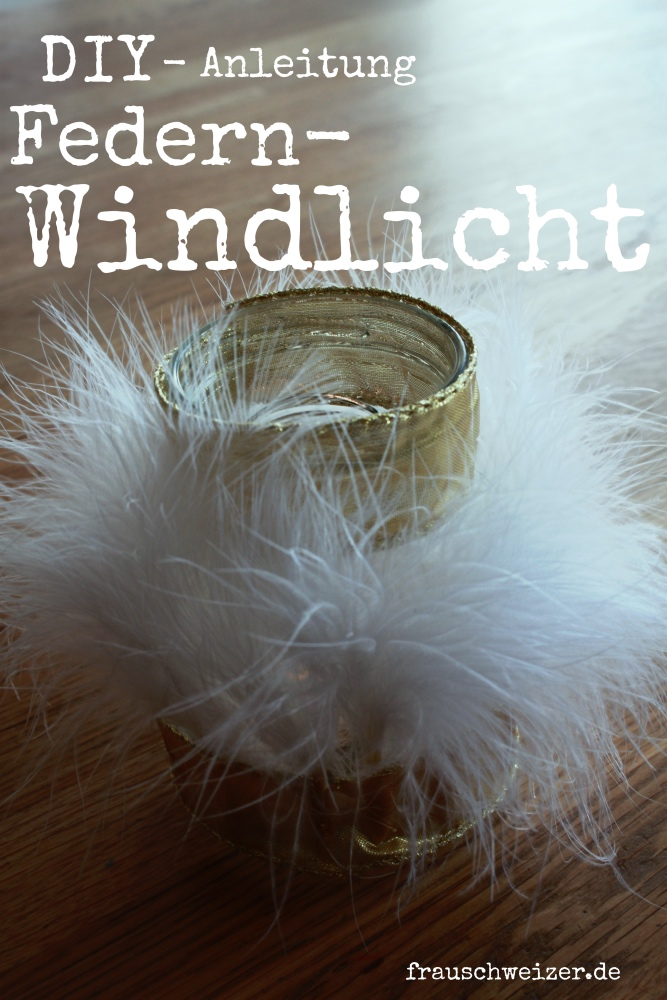DIY Anleitung Windlicht im Federkleid
