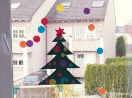 DIY Fensterbild Tannenbaum an Weihnachten